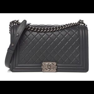 e8dacaf4ef1cbc CHANEL. Lambskin quilted new medium Chanel boy dark gray